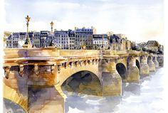 Paris - Pont Neuf - Aquarelle 33x48 cm - pictures vives