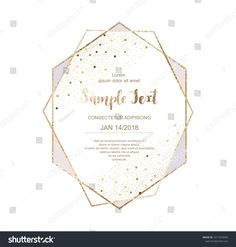 Gold polygonal frame with leaves. Golden glitter triangles ...