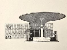 Arne Jacobsen, Gas Station, Architects, Architecture Design, Designers, Sketch, Posters, Fine Art, Abstract