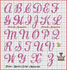 Alfabetet Cross Stitch Letter Patterns, Cross Stitch Letters, Cross Stitch Flowers, Cross Stitch Designs, Stitch Patterns, Crochet Alphabet, Crochet Letters, Embroidery Alphabet, Embroidery Fonts