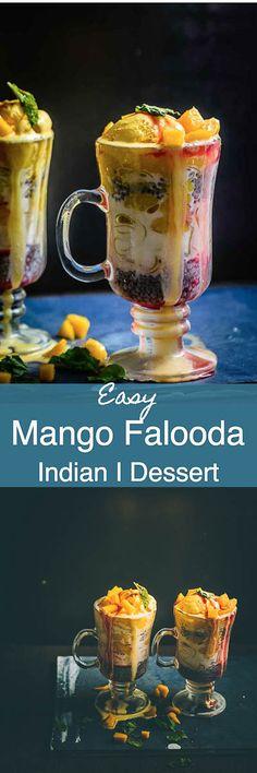 Mango Falooda is a delicious beverage or dessert with layers of falooda sev, milk, basil seeds and fresh mango pieces and mango puree layered in a tall glass. Indian I drink I beverage I Dessert I Mango I recipe I Easy I simple I best I quick I perfect I Summer I Mango I recipe I