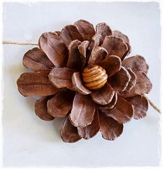 Pine cone flowers love this is such a pretty diy i love that this simple garland is an easy one all you need are pine cones some f Handmade Flowers, Diy Flowers, Fabric Flowers, Paper Flowers, Flower Pots, Pine Cone Art, Pine Cone Crafts, Pine Cones, Nature Crafts