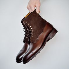 These field boots from are something special. I sold these a while back because I preordered the wrong size and I always go back to this pic to remember how great they were. Ill have to consider them again down the road. Carlos Santos Shoes, Your Shoes, Men's Shoes, Goodyear Welt, Stylish Men, Chelsea Boots, Menswear, Style, Fashion