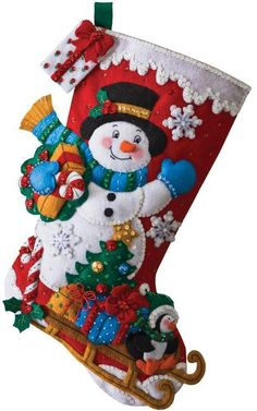 Snowman With Present Christmas Stocking - Felt Applique Kit