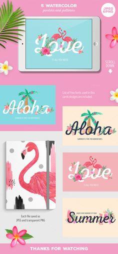 Tropical Summer Clip Art Illustration Set