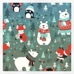 My submission for Hallmark Creative U.s Fab and Festive contest! Christmas Palette, Christmas Trends, Christmas Design, Christmas Inspiration, Christmas Art, Christmas Projects, Winter Christmas, Christmas Decorations, Illustration Noel