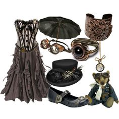A fashion look from May 2012 featuring steampunk skirt, onyx ring and antique jewelry. Browse and shop related looks.