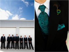 Black and teal contrast is so dashing! Plus a peacock boutonniere #groom