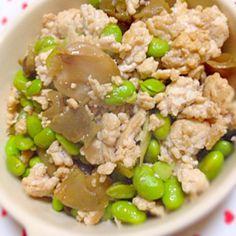 またおつまみ(´・∀・`) 今日は呑んでもいい日♡ - 124件のもぐもぐ - 枝豆と挽肉とザーサイ炒め(´∀`) by minisaya