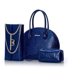 Ericdress Trendy Croco Solid Color PU Handbags (3 Bags) Handbags