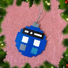 Tardis Christmas Bauble - Doctor Who perler beads by ZoZoTings