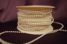 3mm Faux Plastic Pearl on a String Craft Roll (Cream)