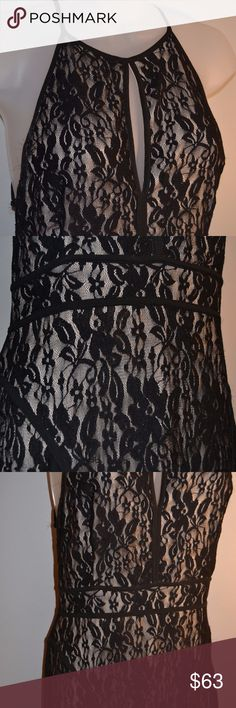 """COMFORTABLE Black Lace Dress Worn once! This is one of the most comfortable dresses...ever! Amazing cutouts are stunning - back straps are adjustable (see photos). Floor length gown. At 5'8"""", you can wear 4"""" heels and the dress will still just graze the floor. Form fitting but not too tight, just right for your night out. Lulu's Dresses Backless"""