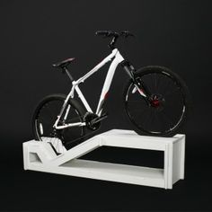 This collection of furniture could turn your small apartment into a bike garage–all without taking up any extra room. Bicycle Decor, Bike Storage, Bike Rack, Cycling, Woodworking, Indoor, Display, Mtb, Backyard Ideas