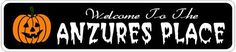 ANZURES PLACE Lastname Halloween Sign - Welcome to Scary Decor, Autumn, Aluminum - 4 x 18 Inches by The Lizton Sign Shop. $12.99. Predrillied for Hanging. Great Gift Idea. 4 x 18 Inches. Aluminum Brand New Sign. Rounded Corners. ANZURES PLACE Lastname Halloween Sign - Welcome to Scary Decor, Autumn, Aluminum 4 x 18 Inches - Aluminum personalized brand new sign for your Autumn and Halloween Decor. Made of aluminum and high quality lettering and graphics. Made to last for year...