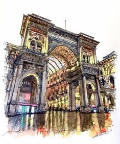 Galleria Vittorio Emanuele II , Milan , Italy. Travelling, Drawing and Painting. By Akihito Horigome.