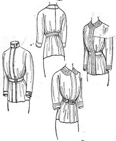 """""""Blouse coat with a standing or Dutch collar, and gathered peplum, Butterick- 1910."""""""