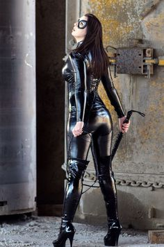 Shiny black stretch vinyl for catwoman cosplay costume.