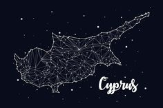 Cyprus map constellation. Travel Icons