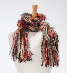 Items similar to Knotted Fringe Scarf - Class Act - Shades of Black, Red, Tan and Cream on Etsy Scarf Knots, Ribbon Yarn, Handmade Scarves, Freeform Crochet, Fringe Scarf, Scarf Design, Wow Products, Shades Of Black, Accent Pieces