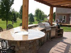 Outdoor kitchen + firepit bar top