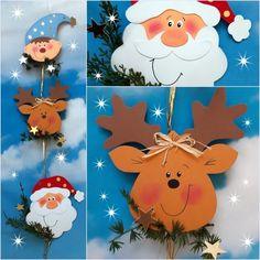 Xmas Crafts, Spring Crafts, Wood Crafts, Diy Crafts, Christmas Decorations, Christmas Ornaments, Holiday Decor, Theme Noel, Holiday Time
