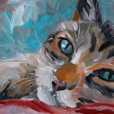 """Daily Paintworks - """"A Teacher of Stillness"""" - Original Fine Art for Sale - © Aniko Makay Creature Drawings, Animal Drawings, Watercolor Cat, Cat Drawing, Animal Paintings, Dog Art, Gouache, Pastel, Art Projects"""
