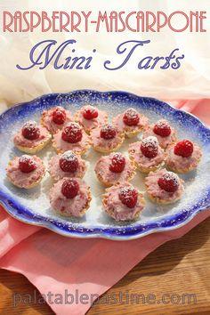 Raspberry Mascarpone Mini Tarts #SundaySupper