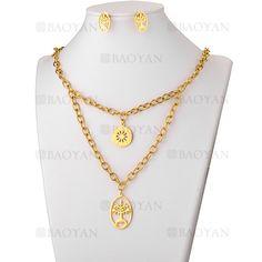 juego collar y aretes de arbol dorado en acero inoxidable para mujer -SSNEG503553