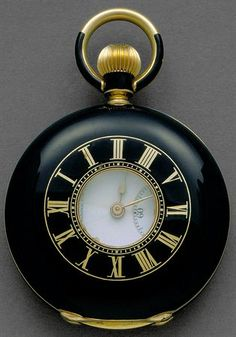 Vintage Watches Collection : Gold enamel glass pocket watch B. Poitevin second half of XIX Switzerland Antique Watches, Antique Clocks, Vintage Watches, Old Pocket Watches, Pocket Watch Antique, Cool Clocks, Telling Time, Beautiful Watches, Watches For Men