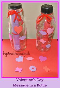 valentine's day craft, message in a bottle