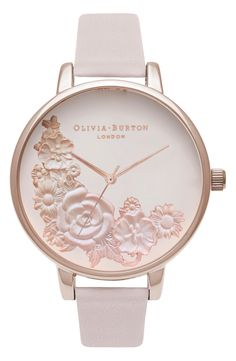 Pink Floral Leather Strap Watch, 38mm