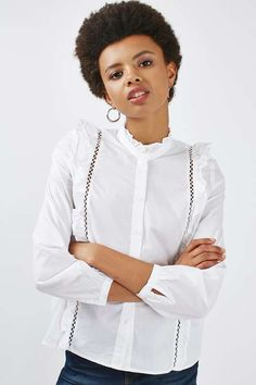 Poplin Ruffle Shirt - Tops - Clothing - Topshop