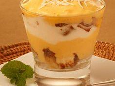 Receita de Sobremesa com bolo cocada de maracujá e sorvete de coco com abacaxi - Tudo Gostoso