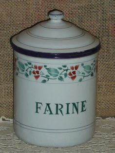 Vintage French Enamelware White Pink Green Canister Farine Flour Japy Signed | eBay