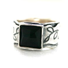 Women's sterling silver ring with square black onyx focal size 7
