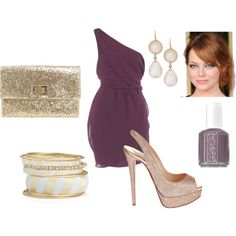 golden plum, created by #jay-bird11 on #polyvore. #fashion #style Dorothy Perkins Christian Louboutin