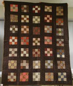 Hand-stitched Pieced Cotton Quilt, c. 1880,  80 1/2 x 65 1/2 in.