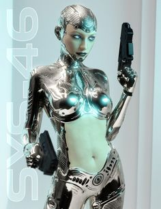 System 46 is a highly detailed level 4 sculpted morph for Genesis 3 Female, she comes as full Android & Half Human morphs. The suit is a Geometry Shell allowing for use on any Genesis 3 Female enabling the use of their own skins for face and torso, Cyborg Girl, Female Cyborg, Human Cyborg, Android Girl, Android Apps, Chica Cyborg, Robot Tattoo, Robots Characters, Arte Robot
