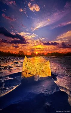 blue and orange winter sunset, Wisconsin, Horizons by Phil Koch~~