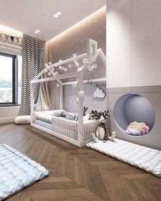 Toddler bed setup Kids room doesn't need to be full of toys and mess. Baby Bedroom, Baby Boy Rooms, Baby Room Decor, Nursery Room, Home Decor Bedroom, Comfy Bedroom, Bedroom For Kids, White Nursery, Bedroom Wall