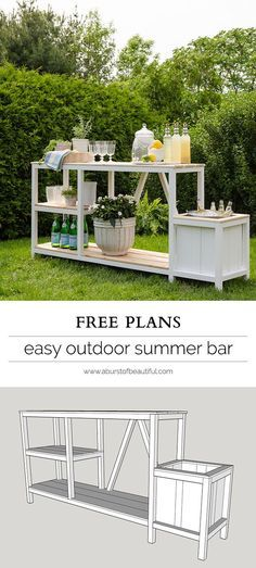 Entertaining + Outdoor Bar Summer entertaining is easy with this beautiful DIY outdoor bar + free plans.Summer entertaining is easy with this beautiful DIY outdoor bar + free plans. Woodworking Projects Diy, Woodworking Plans, Popular Woodworking, Woodworking Joints, Woodworking Machinery, Woodworking Furniture, Woodworking Shop, Diy Outdoor Bar, Outdoor Decor