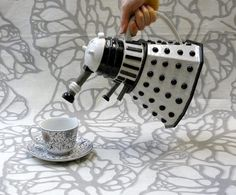 Large, highly detailed Dalek Teapot in white and black by jadeflower