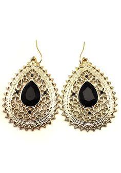 Luxury Black and Gold Rhinestone Golden Dangle Earrings #Black_and_Gold #Luxury #Earrings
