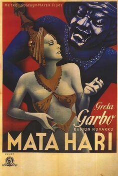 "mata hari_1 nd -- |.| Greta Garbo. Vintage movie poster art for ""Mata Hari"", 1931."
