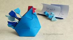 Make an Origami Hen –Improved and Updated Video to Make a Hen-Box Origami Ball, Origami Love, Useful Origami, Origami Stars, Origami Flowers, Origami Owl Instructions, Origami Tutorial, Animals, Party