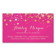2207 best wedding business card templates images on pinterest glam gold dots decor trendy girly hot pink magnetic business card junglespirit Image collections