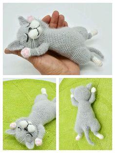 Gato Crochet, Crochet Teddy, Crochet Amigurumi Free Patterns, Crochet Square Patterns, Beginner Crochet Projects, Crochet For Kids, Amigurumi Doll, Stuffed Toys Patterns, Crochet Crafts