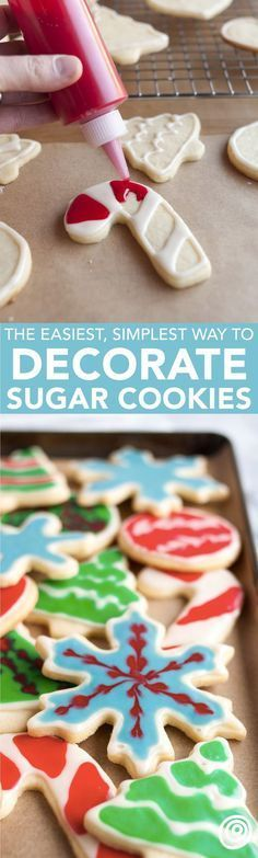How to Decorate Sugar Cookies with Flood Icing: The Easiest, Simplest Method (with a Video! This is one of those tutorials everyone needs to see for decorating their favorite cookie with frosting. G (Favorite Cake Holidays) Christmas Sugar Cookies, Christmas Sweets, Christmas Cooking, Noel Christmas, Holiday Cookies, Holiday Treats, Holiday Recipes, Halloween Christmas, Christmas Candy