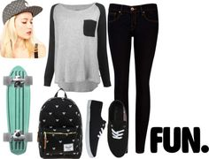 A fashion look from March 2013 featuring grey long sleeve shirt, zipper fly jeans and canvas ballet shoes. Browse and shop related looks. Diesel Punk, Teen Fashion, Fashion Outfits, Womens Fashion, Outfits For Teens, Casual Outfits, Casual Dresses, Look Skater, Skater Girl Outfits